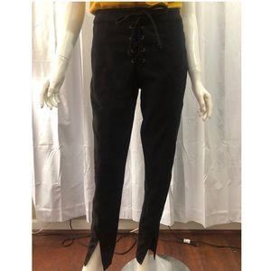 Lucca Couture Lace Up Suede Pants